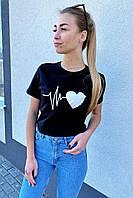 Популярная футболка с принтом сердца  TITUS - черный цвет, M (есть размеры), фото 1