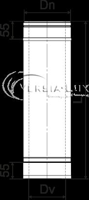 Труба дымоходная 0,5 м нерж/оцинк ø130/200 мм (толщина 0,6 мм), фото 2