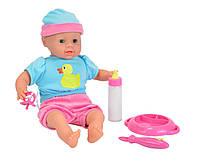 Детская Интерактивная Мягкая Игрушка Кукла Пупс Лаура с набором для кормления с соской 38 см Simba Симба