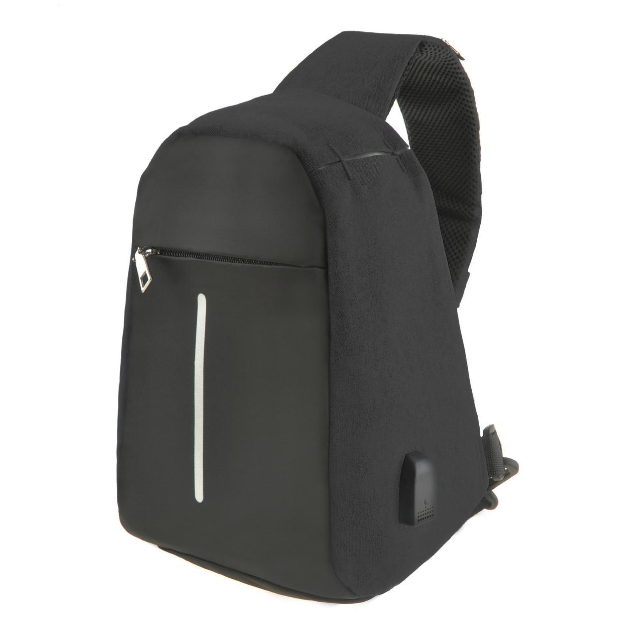 Городской рюкзак Bobby Mini однолямочный 10х19х30 защита от краж, USB-порт, чёрный водонепроницаемый ксНЛ1689ч