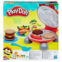 Детский Игровой Набор Бургер Гриль с 5 банками пластилина, грилем разноцветный Плей До Play Doh Hasbr Хасбро