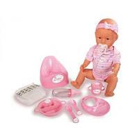 Детская Интерактивная Игрушка Кукла Пупс с бутылочкой и горшком в розовом 43 см New Born Baby Simba Симба