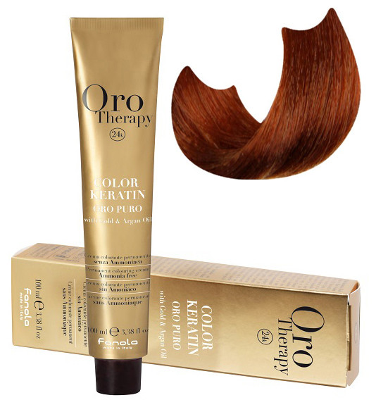 Безаммиачная крем-краска для волос Fanola Oro Therapy №8/4 Light blonde copper 100 мл