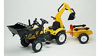 Детский трактор на педалях с прицепом, передним и задним  ковшом Falk 2055CN RANCH