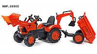 Детский трактор на педалях с прицепом, передним и задним ковшом Falk 2090Z KUBOTA