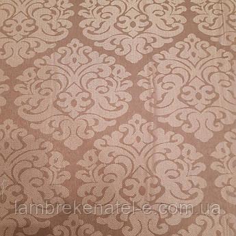 Портьерная ткань коричневого цвета с рисунком вензель, высота 2,8 м