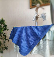 Вязаный теплый детский плед синий 100см*90см