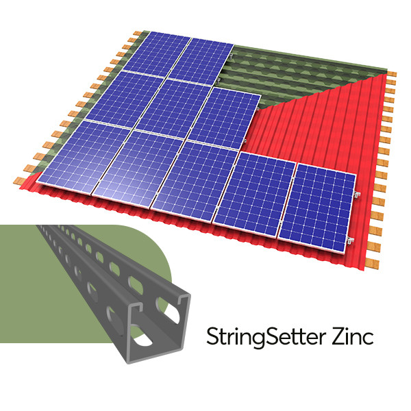 StringSetter Zinc B11 комплект оцинкованного креплений 11 PV модулей для битумной черепицы