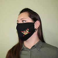 Маска защитная на лицо многоразовая текстильная 25*14см, оптом дешевле. чёрная с вышывкой на резинке