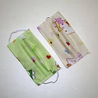 Маска детская защитная на лицо многоразовая текстильная цветная на резинке, оптом дешевле