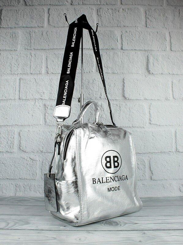 Рюкзак-сумка жіночий сріблястий Balenciaga 90633