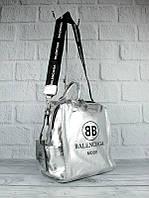 Рюкзак-сумка женский серебристый Balenciaga 90633, фото 1