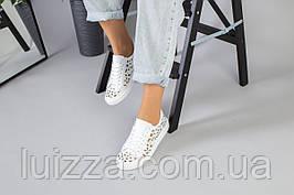 Женские кеды белые, из натуральной кожи, с белыми шнурками, с перфорацией