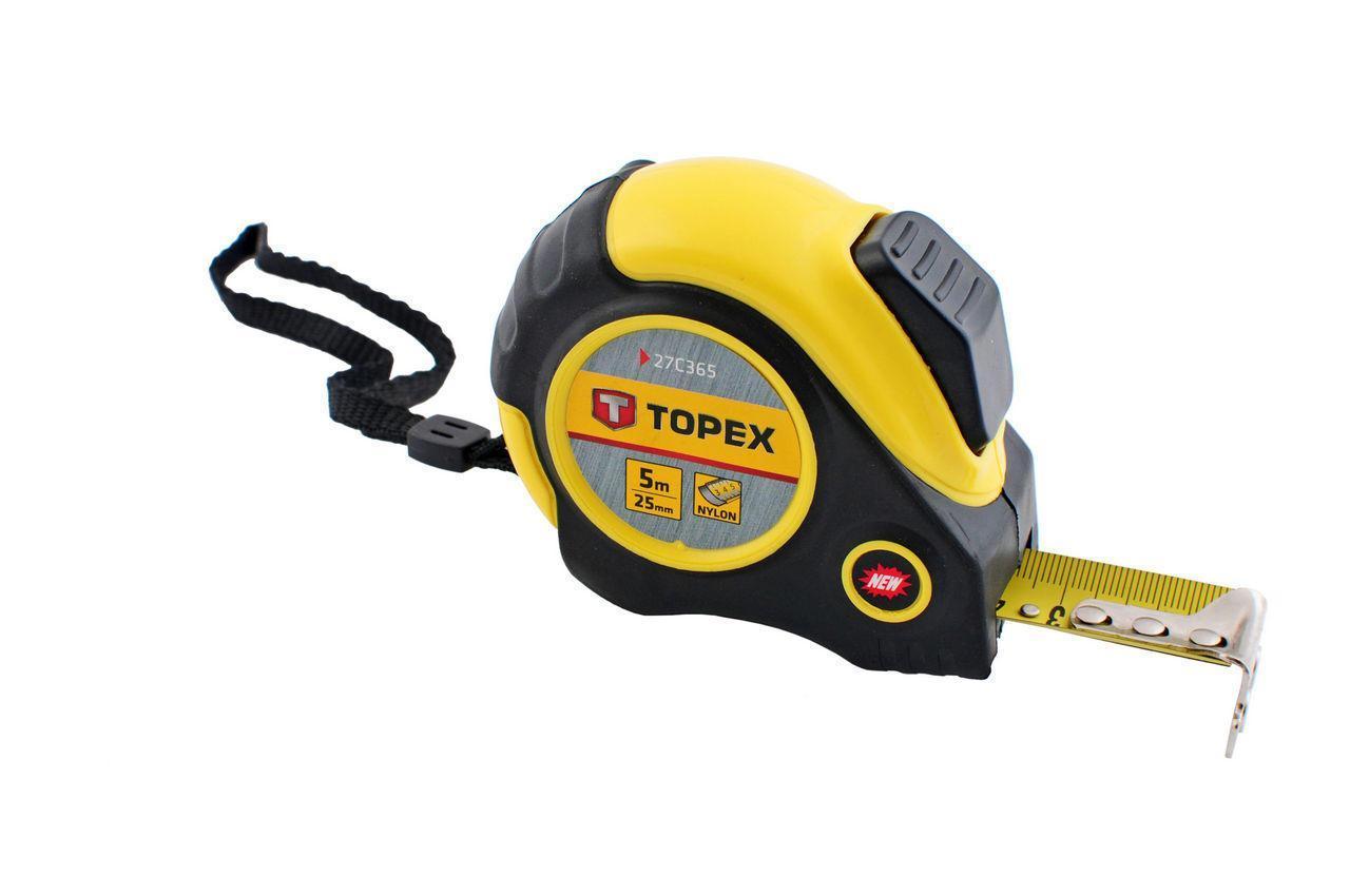 Рулетка Topex - 5 м х 25 мм, магнит, автостоп (27C365)