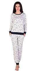 Теплая пижама женская зимняя хлопковая комплект домашний кофта и штаны интерлок Украина