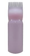 Бутылочка-емкость-дозатор с расческой-гребнями-зубцами для краски для окрашивания волос 120 мл