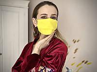 Маска многоразовая из льна желтая  с марлевым фильтром не медицинская