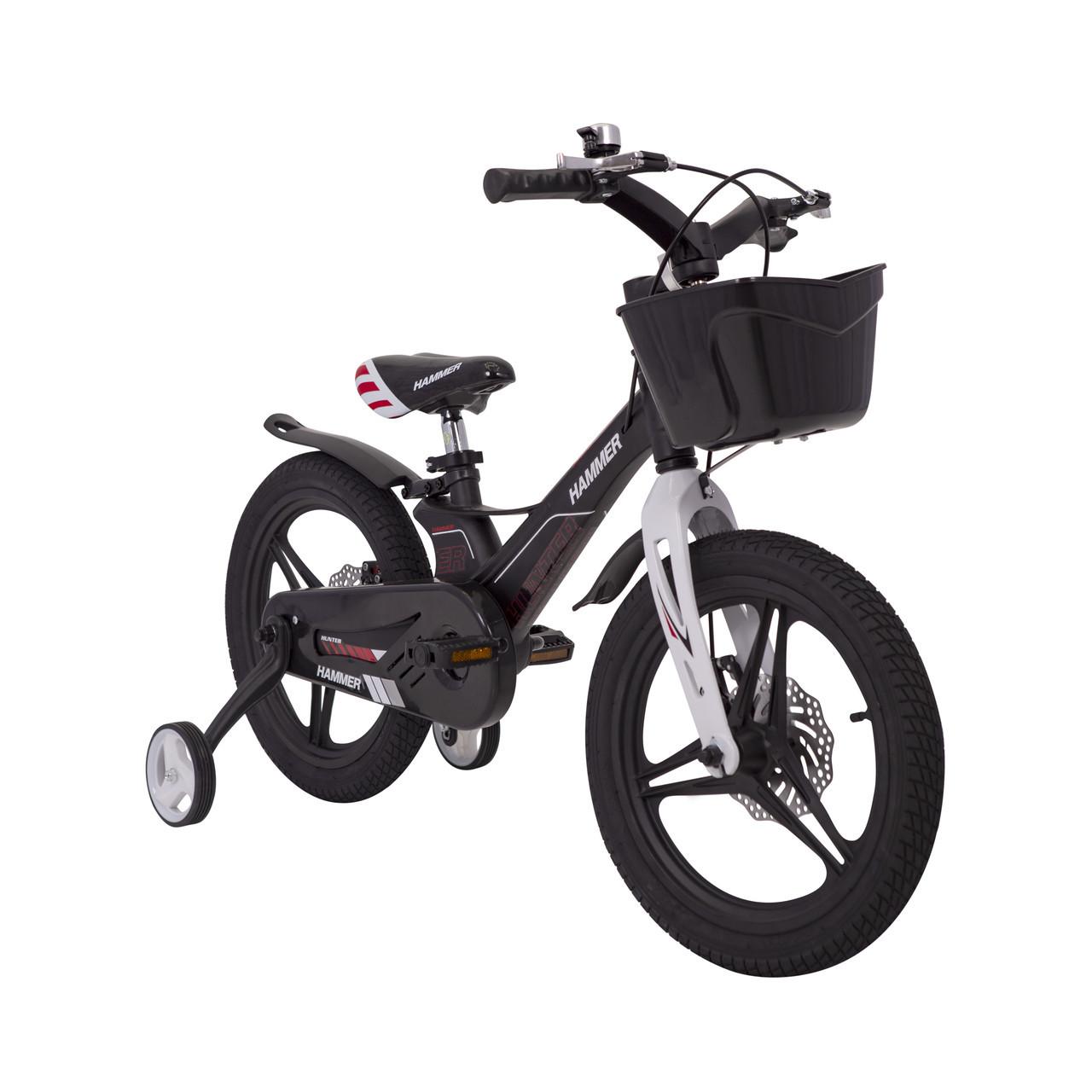 Дитячий Велосипед c полегшеної рамою HAMMER HUNTER-1850G Чорний з кошиком Магнієвий