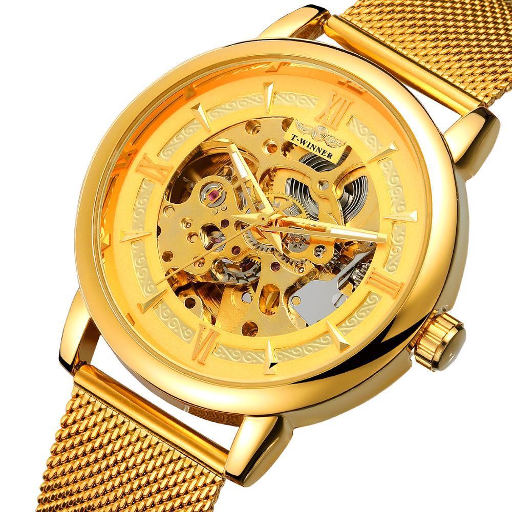 Winner Aperol золотые с золотистым циферблатом мужские  механические часы скелетон