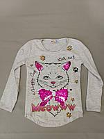 Лёгкая серая туника с котиком для девочки 4, 5  лет, фото 1