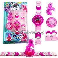 Детские наручные часы конструктор Литл Пони Пинки Пай + фигурка лего любимого героя