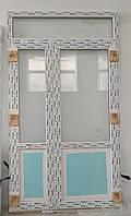 Двери входные металлопластиковые двухстворчатые из 5-кам дверного профиля  WDS 1410х2500 мм
