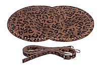 Набор для круглой сумки из экокожи Тигровый: 2 боковины Ø 25 см + ручка на карабинах