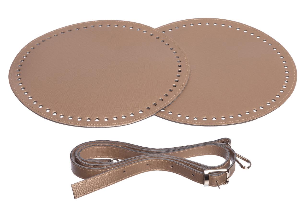Набор для круглой сумки из экокожи Бронза: 2 боковины Ø 25 см + ручка на карабинах