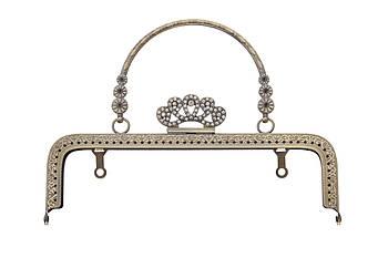 Фермуар прямоугольный корона с полукруглой ручкой 3 цветка, 20,5 см Бронза