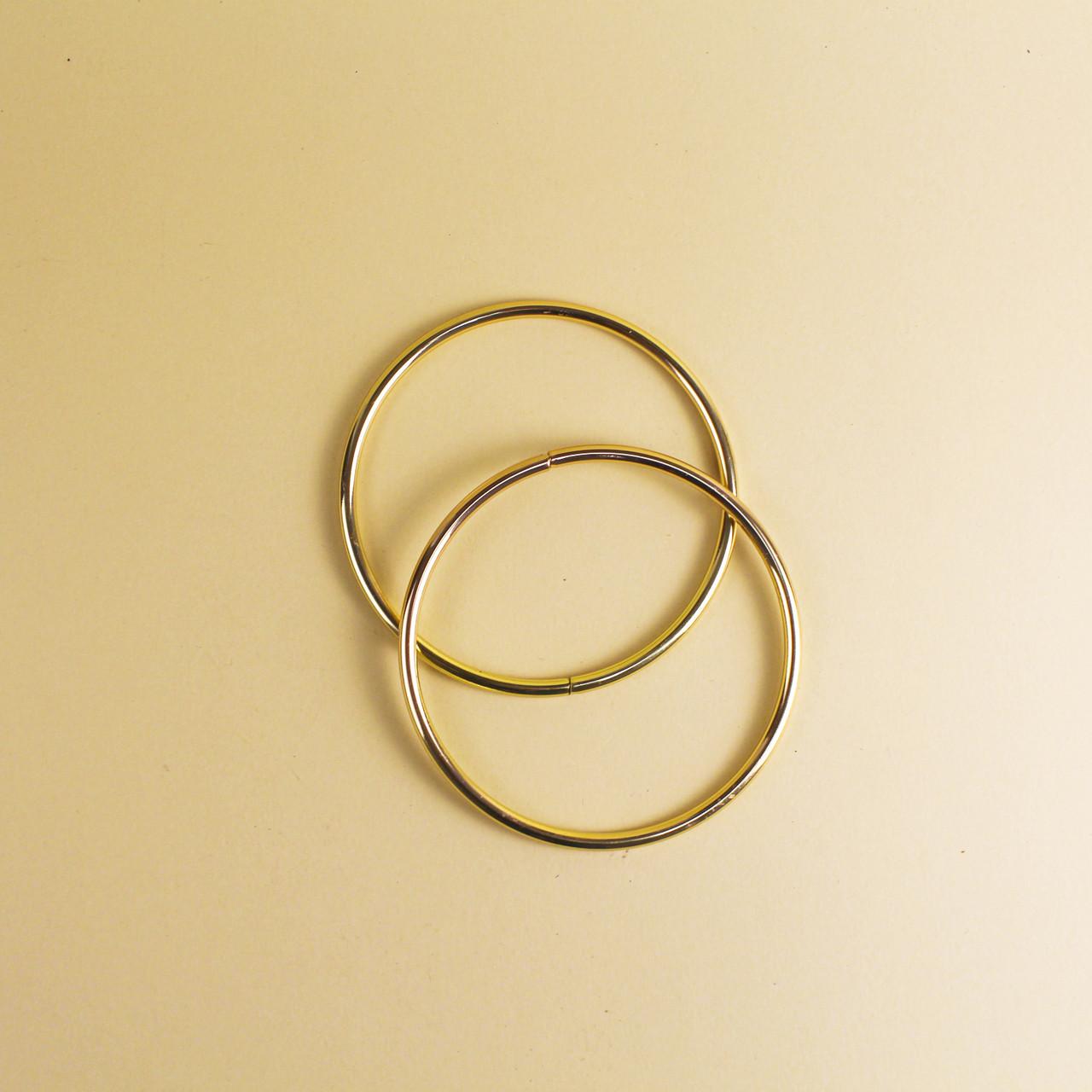 Комплект металлических ручек-колец для сумки 11 см Золото