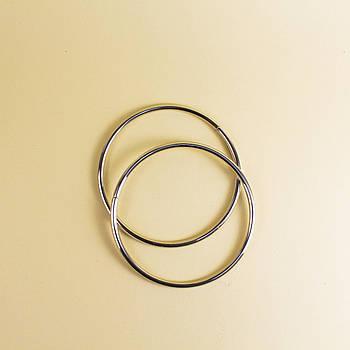 Комплект металлических ручек-колец для сумки 13,5 см Серебро