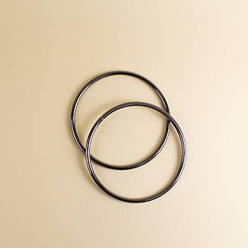 Комплект металлических ручек-колец для сумки 13,5 см Черный Металлик