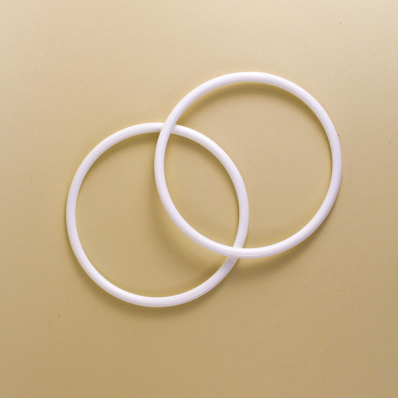 Комплект ручек для сумки пластиковых круглых Кольцо 15 см Белые