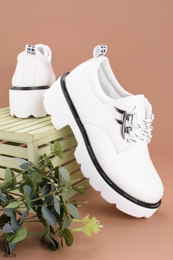 Стильные туфли женские Мартенс белые эко кожа