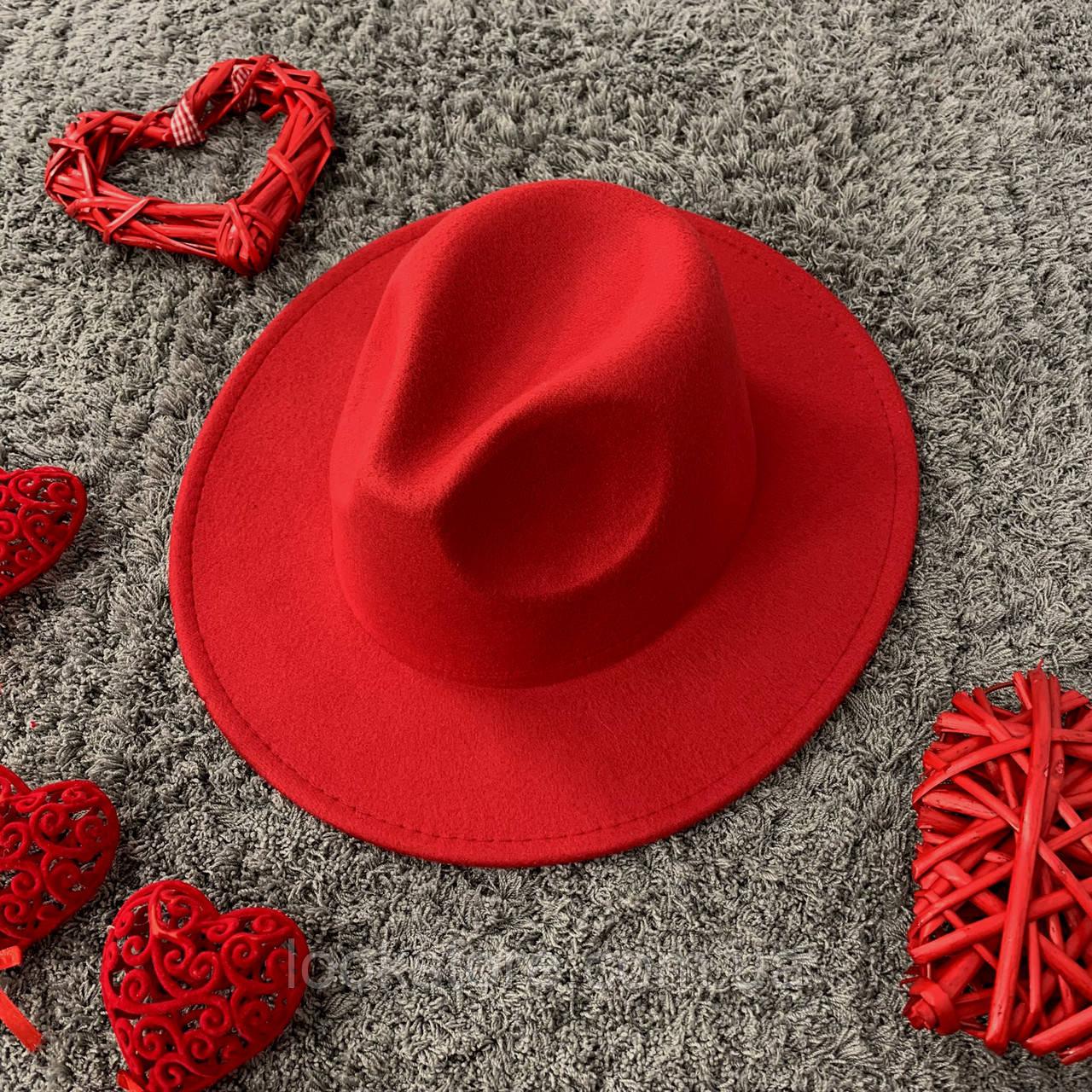 Шляпа Федора унисекс с устойчивыми полями красная