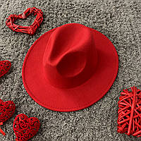 Шляпа Федора унисекс с устойчивыми полями красная, фото 1