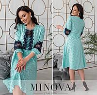 Романтичне плаття жіноче з мереживом на ліфі і на рукавах (3 кольори) ОМ/-844 - М'ятний, фото 1