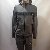 Мужской спортивный костюм в стиле Nike серый отличного качества