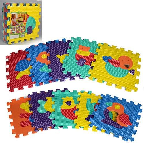 Килимок-мозаїка,10дет. Тварини,пазл,EVA,масаж,6 текстур,31,5х31,5х10см №M2619(10)