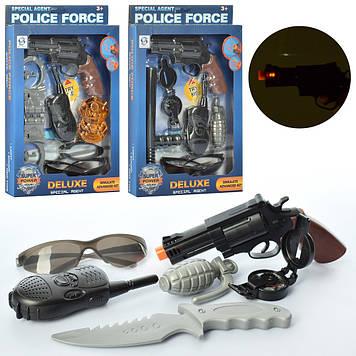 Набір поліцейського: пістолет,звук.,світ. рація,окуляри,в кор-ці №HSY-011-013-14(48)