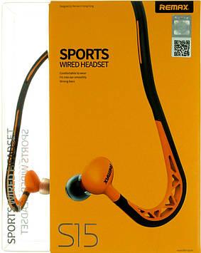 Навушники вакуумні Remax S15 ( гарнітура) orange дуга спорт