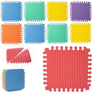 Килимок-мозаїка,18дет.(30х30х0,9 см) Трикутники,пазл,масажн.,7 текстур,у пакунку №M 5735(10)