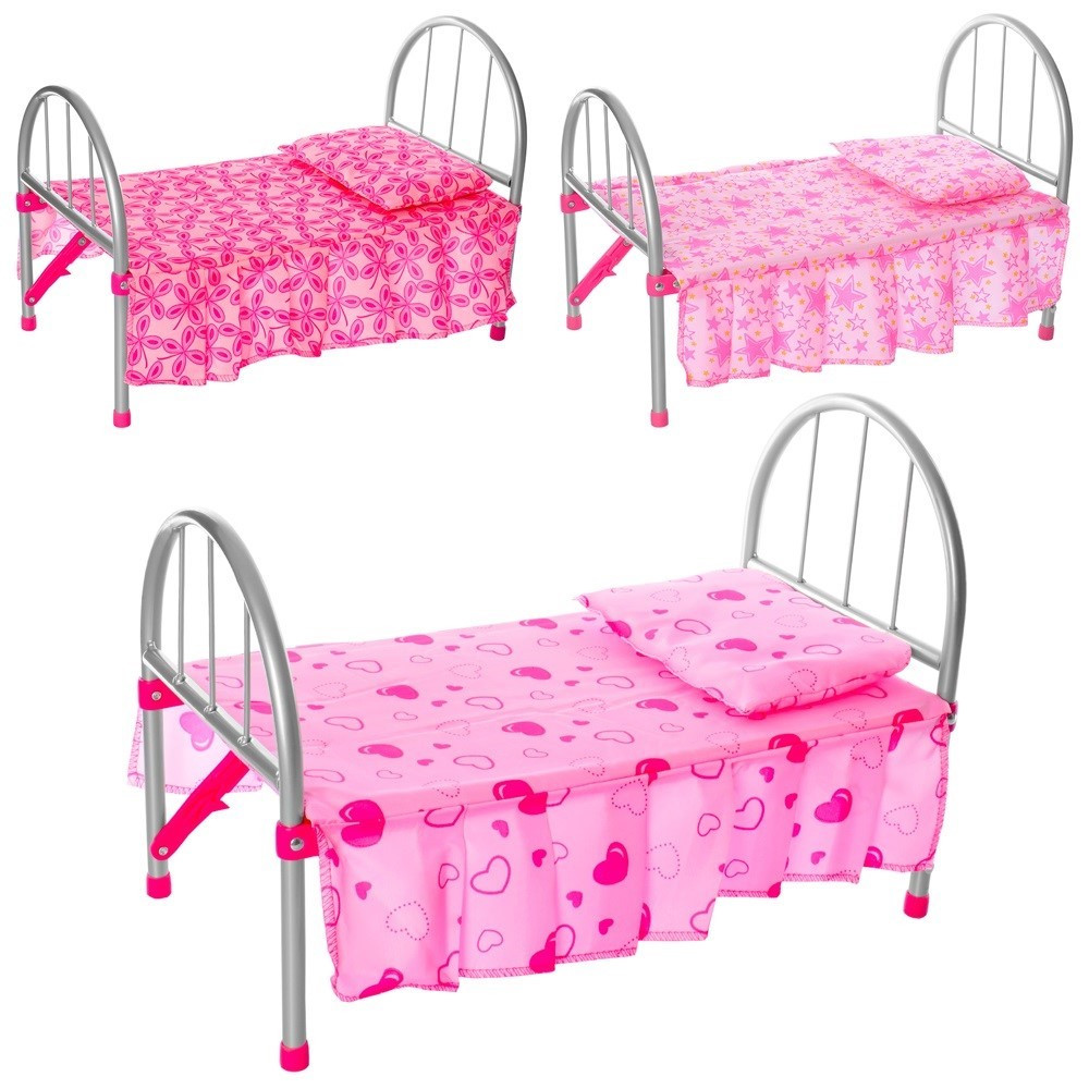 Ліжко для ляльок метал. 45х32х25,подушка,в кульку,74х26х4см №9342/1087172/WS2772(12)