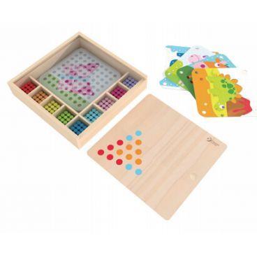 Іграшка дерев'яна мозаїка-конструктор  Кольорові кілочки, в кор-ці №8010 Classic World