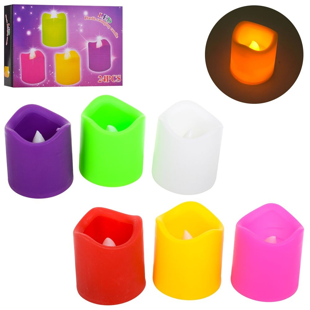 Свічка на бат-ці , 5см, світло, 6 кольорів, в дисплеї 31х20,5х5,5см №MK 2072(24)(240)