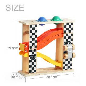 Іграшка дерев'яна яна гоночна траса 2в1(машини,падаючі кулі,молоток) №150168(6) Classic World