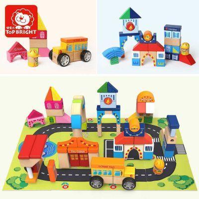 Іграшка дерев'яна  кубики будівельні  Побудуй своє місто, 126 деталі №120115(4) Top Bright