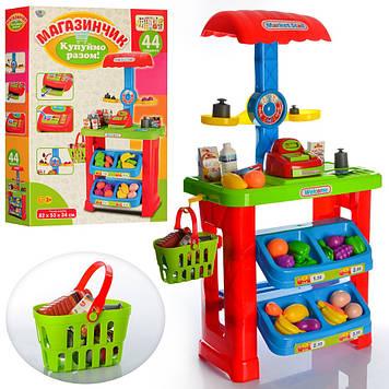 Магазин 34см, прилавок, каса,продукти,кошик,ваги 44предм.,у кор-ці,46х67х11,5см №661-79(6)
