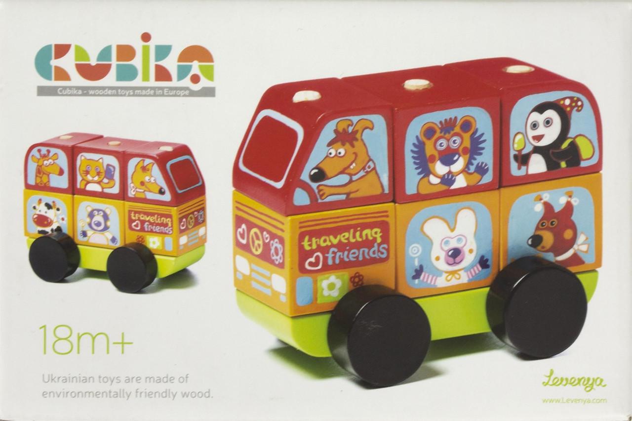 Іграшка дерев. Автобус Веселі звірі Cubika №LM-10/13197