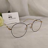 Стильные имиджевые   очки в металлической оправе с бусинкой